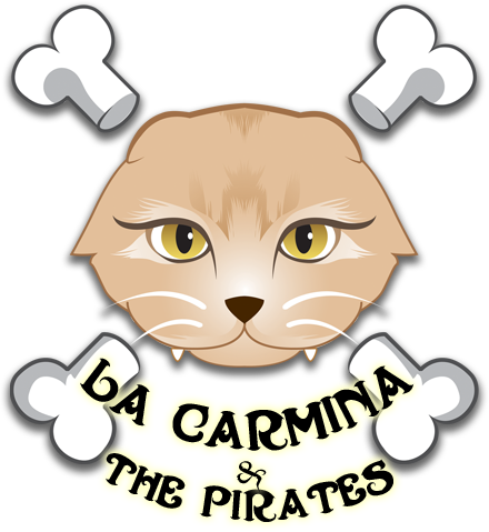 Scottish Fold pirate cat logo, La Carmina & Pirates, Goth cats drawing graphic