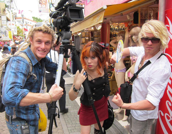 travel show hosts, filming tv show in harajuku tokyo japan
